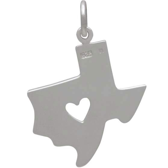Sterling Silver Texas Charm with Heart Cutout -23mm
