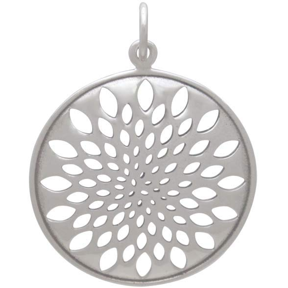 Sterling Silver Sacred Geometry Lotus Pendant