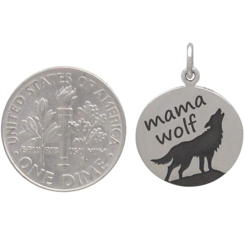 Sterling Silver Mama Wolf Charm Etched on Disk