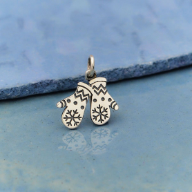 Sterling Silver Snow Mittens Charm 17x13mm