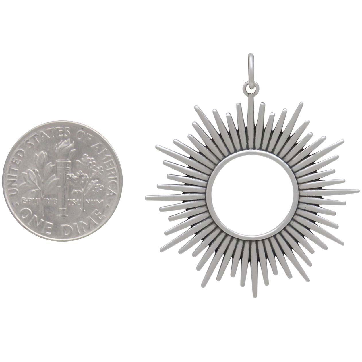 Sterling Silver Spikey Sun Pendant 37x32mm