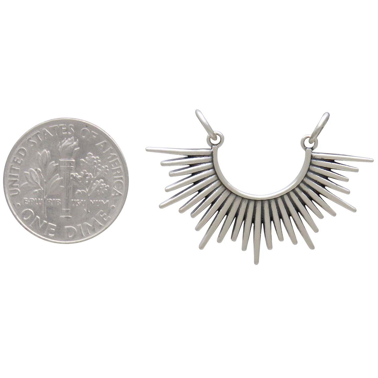 Sterling Silver Sunburst Spike Pendant Festoon 23x32mm