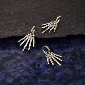 Sterling Silver Five Spike Charm 17x10mm