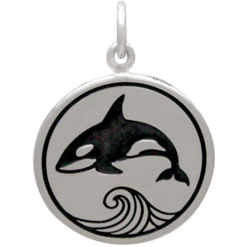 Sterling Silver Killer Whale Charm on a Disk 21x15mm