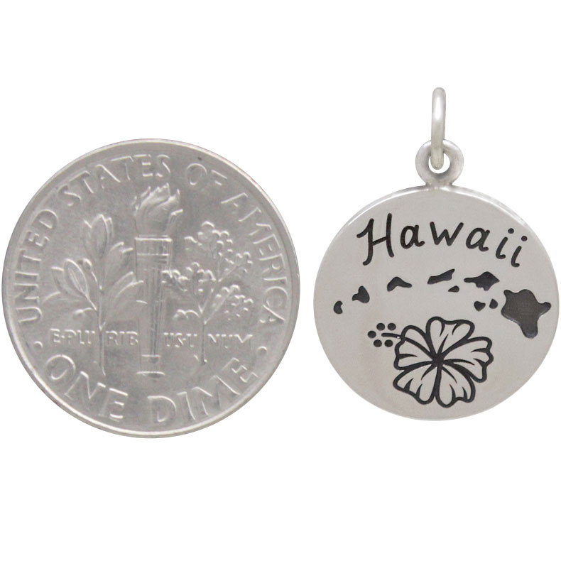 Sterling Silver Hawaii Charm on a Disk 21x15mm