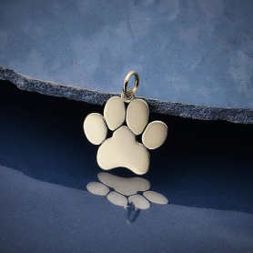 Sterling Silver Paw Print Pendant 19x16mm