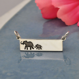 Silver Rectangle Mom and Baby Elephant Festoon 12x29mm