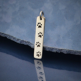 Sterling Silver Rectangle Charm with 4 Paw Prints 28x5mm