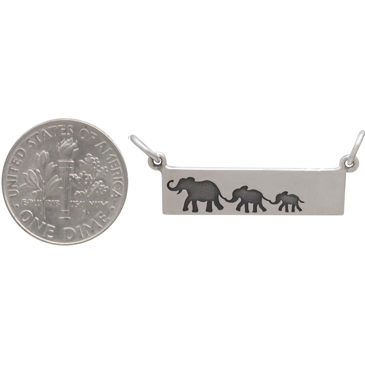 Silver Rectangle Mom and 2 Baby Elephant Festoon 12x29mm