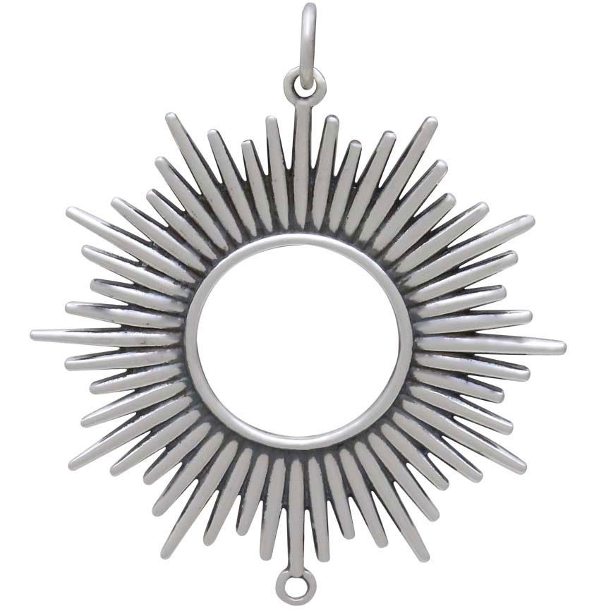 Sterling Silver Spikey Sun Pendant Link 37x32mm