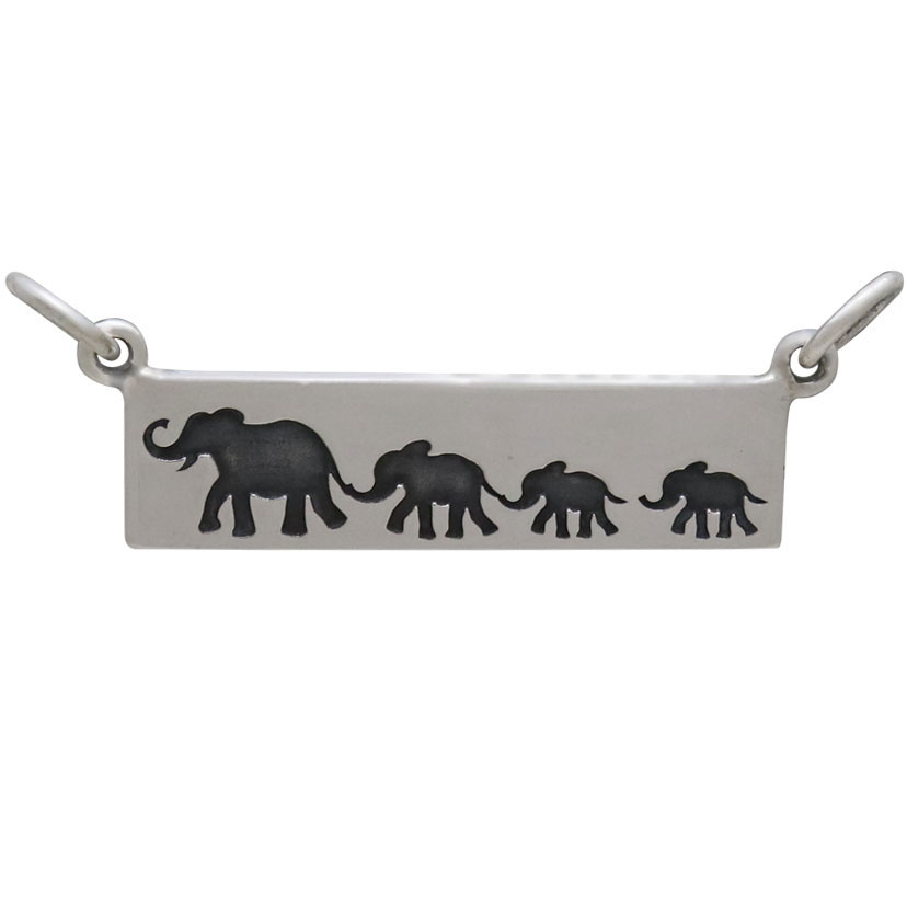 Silver Rectangle Mom and 3 Baby Elephant Festoon 12x29mm