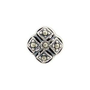 Sterling Silver Bead - Marcasite Square 10x10mm
