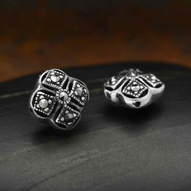 Sterling Silver Bead - Marcasite Square