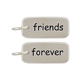 Sterling Silver Word Charm - Friends Forever