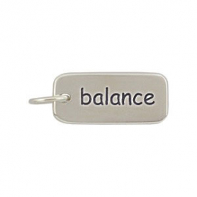 Sterling Silver Word Charm - Balance