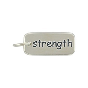 Sterling Silver Word Charm - Strength