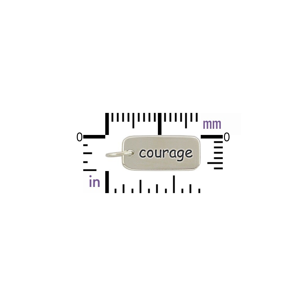 Sterling Silver Word Charm - Courage