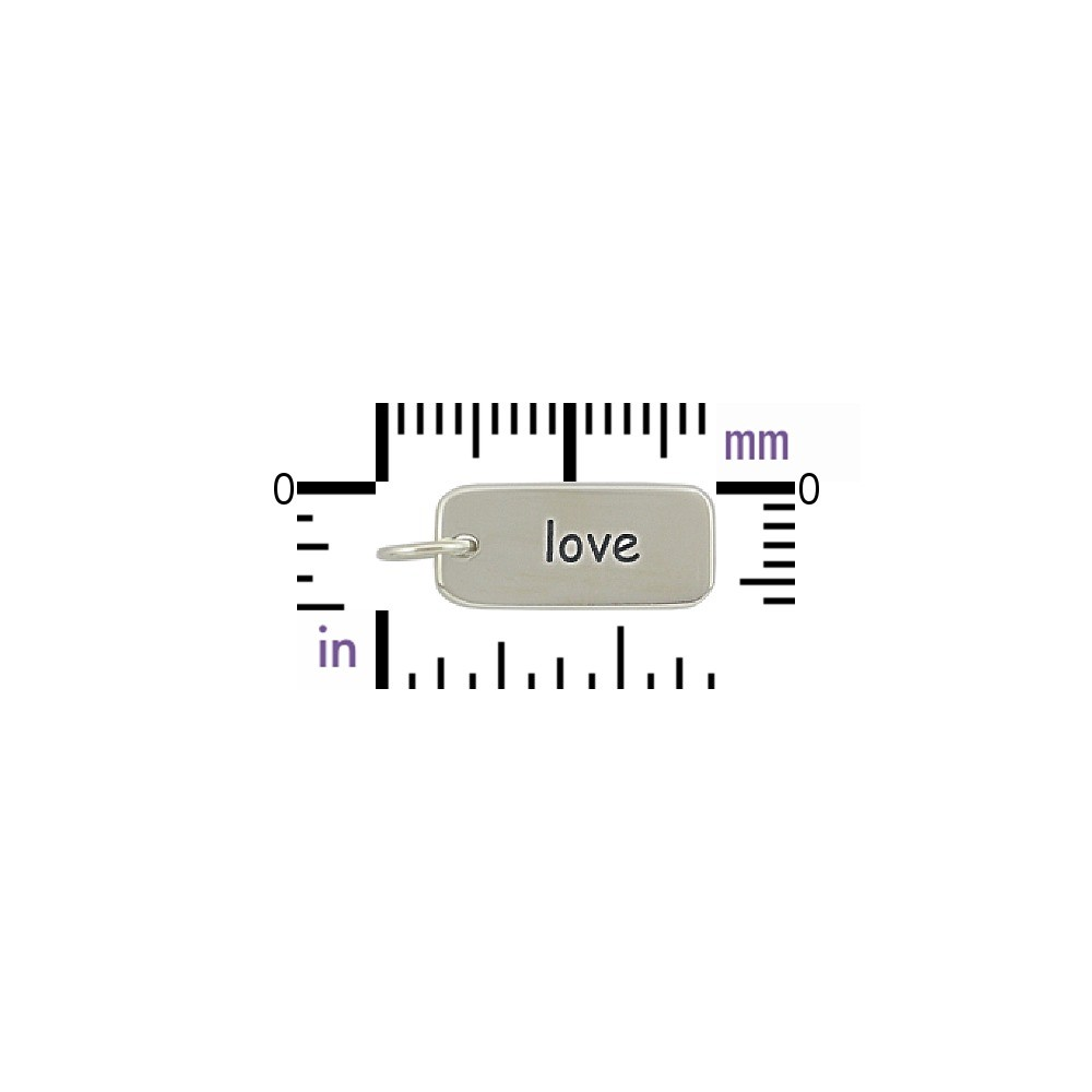 Sterling Silver Word Charm - Love 18x7mm
