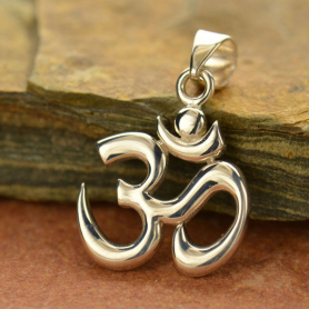 Sterling Silver Om Pendant with Bail 26x17mm