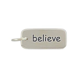 Sterling Silver Word Charm - Believe 18x7mm