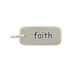Sterling Silver Word Charm - Faith 18x7mm