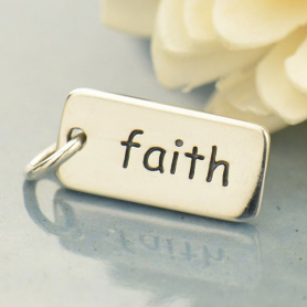 Sterling Silver Word Charm - Faith
