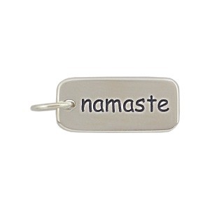 Sterling Silver Word Charm - Namaste 18x7mm