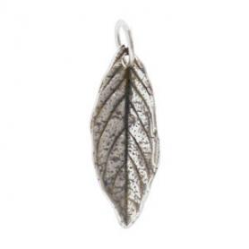 Sterling Silver Mint Leaf Charm - Medium 22x7mm