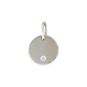 Sterling Silver Small Round Charm with Genuine Diamond