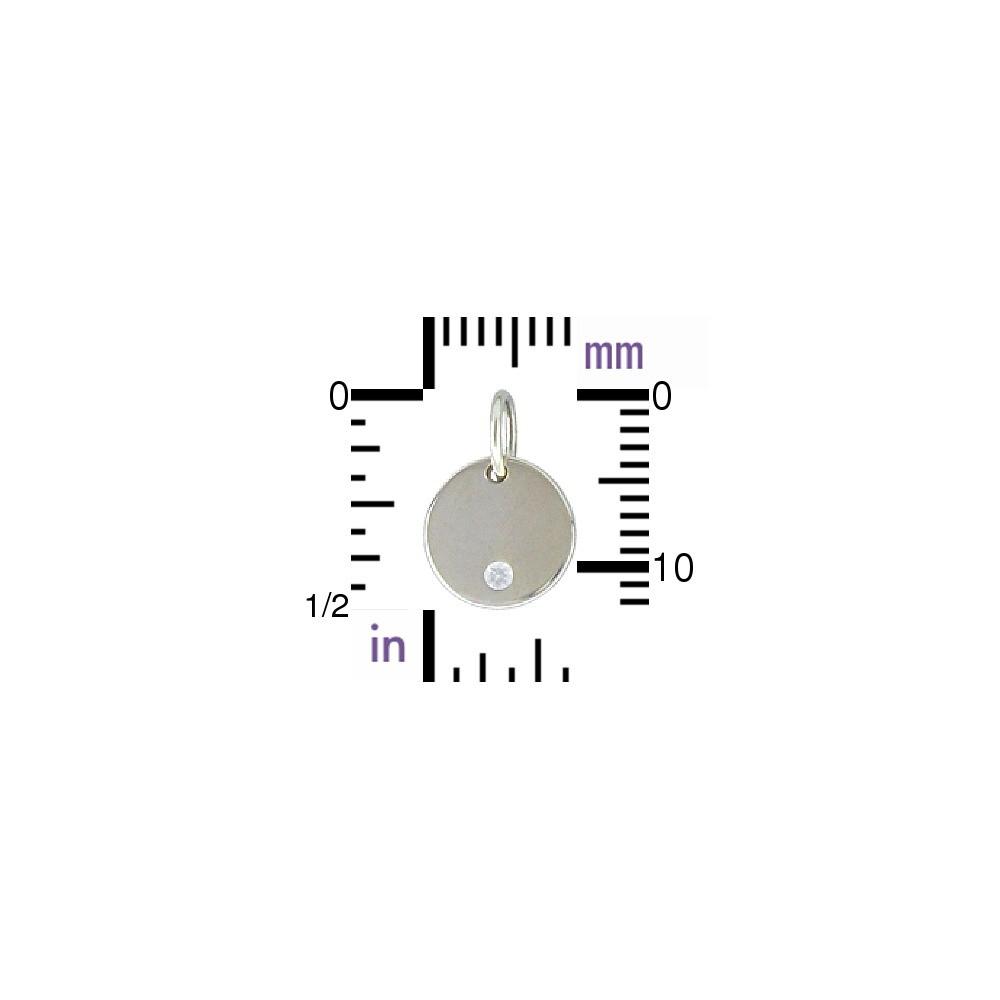 Sterling Silver Small Round Charm w Genuine Diamond 12x8mm