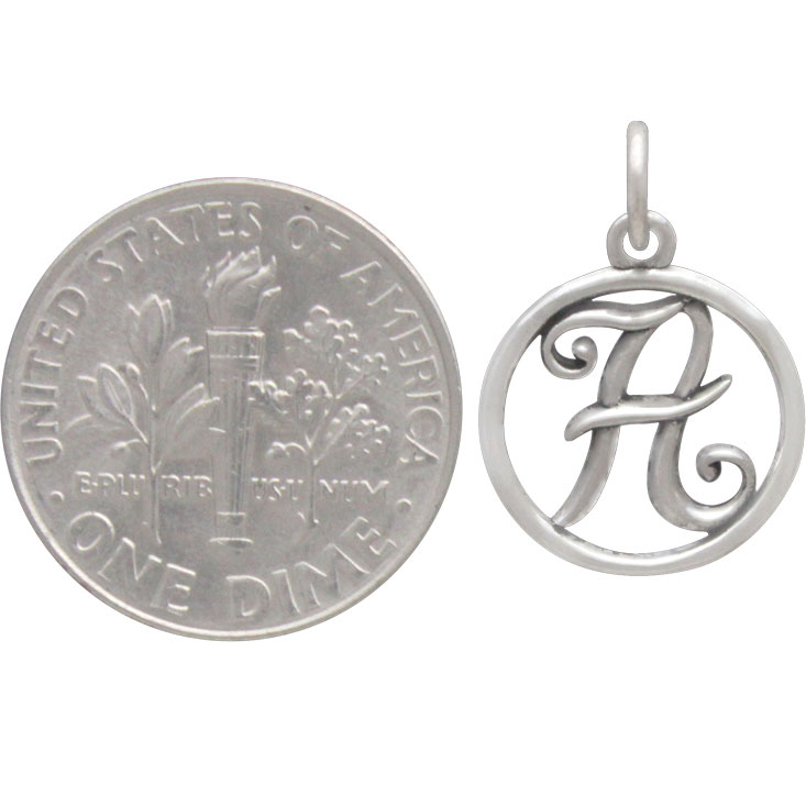 Sterling Silver Cursive Initial Charm Letter A 18x12mm