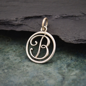 Sterling Silver Cursive Initial Charm Letter B 18x12mm