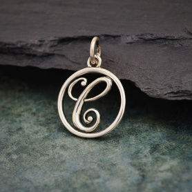 Sterling Silver Cursive Initial Charm Letter C 18x12mm