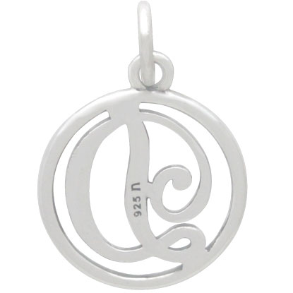 Sterling Silver Cursive Initial Charm Letter D 18x12mm