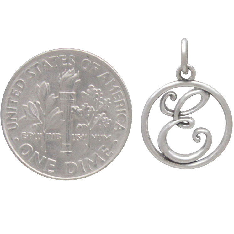 Sterling Silver Cursive Initial Charm Letter E 18x12mm