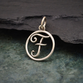 Sterling Silver Cursive Initial Charm Letter F 18x12mm
