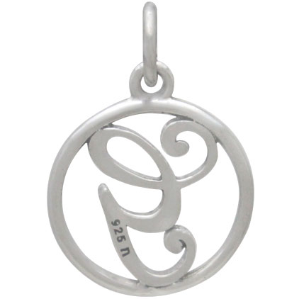 Sterling Silver Cursive Initial Charm Letter G 18x12mm