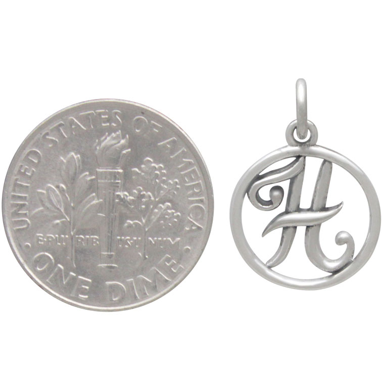 Sterling Silver Cursive Initial Charm Letter H 18x12mm