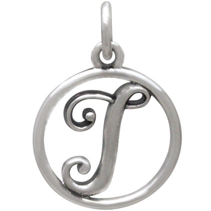 Sterling Silver Cursive Initial Charm Letter I 18x12mm