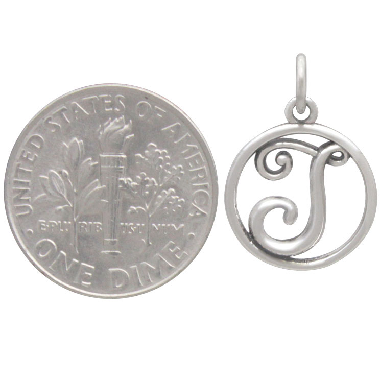 Sterling Silver Cursive Initial Charm Letter J 18x12mm