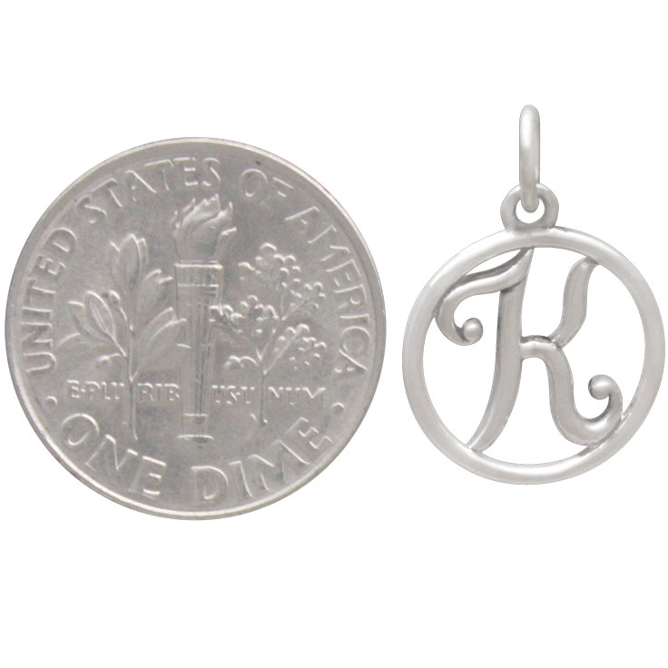 Sterling Silver Cursive Initial Charm Letter K 18x12mm