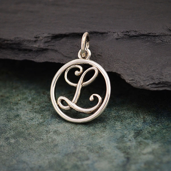 Sterling Silver Small Script Initial Letter L Charm