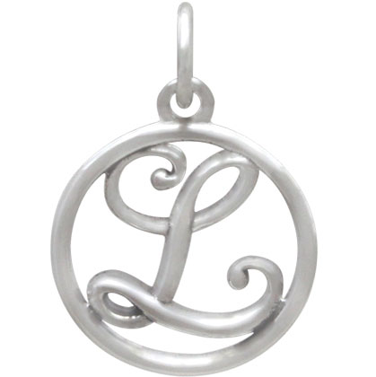 Sterling Silver Cursive Initial Charm Letter L 18x12mm
