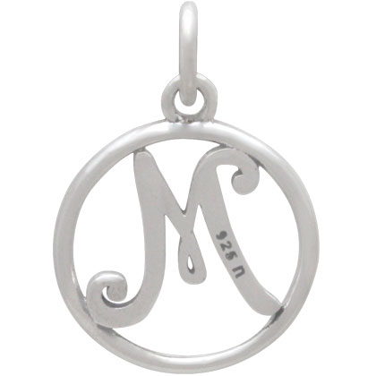 Sterling Silver Cursive Initial Charm Letter M 18x12mm