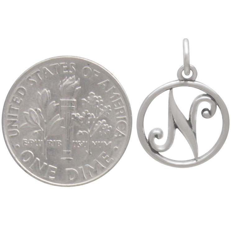 Sterling Silver Cursive Initial Charm Letter N 18x12mm
