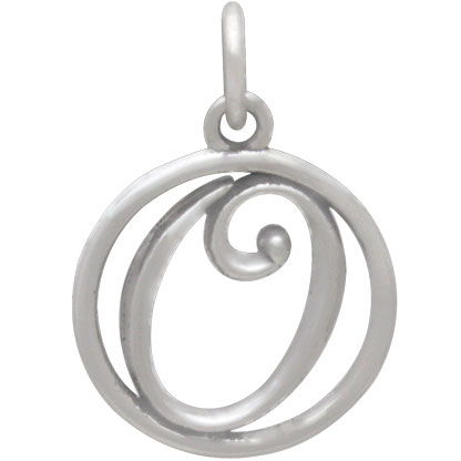 Sterling Silver Cursive Initial Charm Letter O 18x12mm
