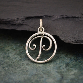 Sterling Silver Cursive Initial Charm Letter P 18x12mm