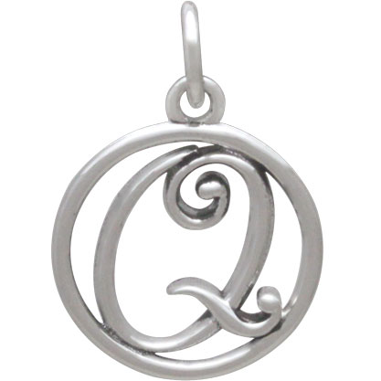 Sterling Silver Cursive Initial Charm Letter Q 18x12mm