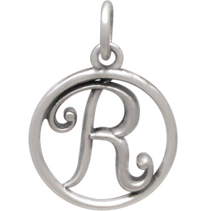 Sterling Silver Cursive Initial Charm Letter R 18x12mm