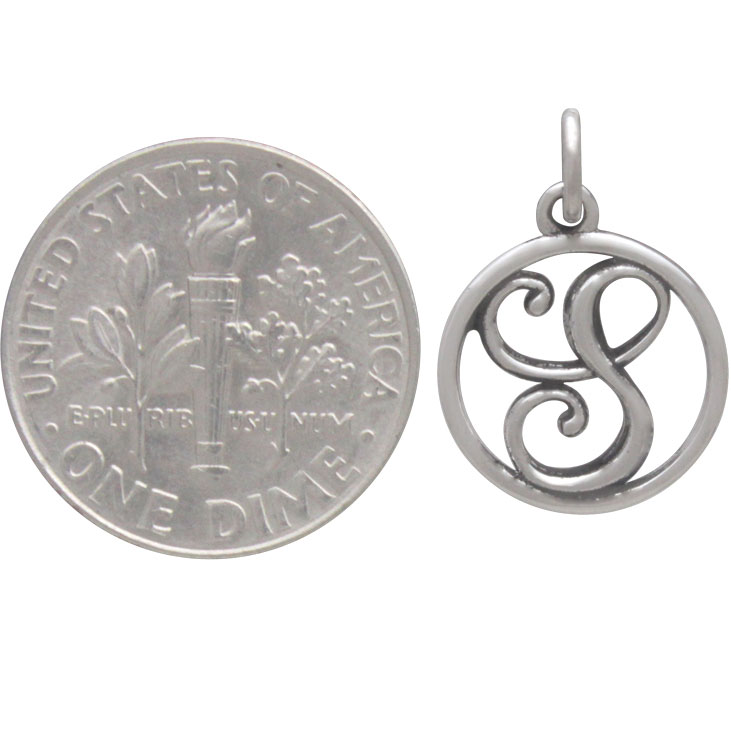 Sterling Silver Cursive Initial Charm Letter S 18x12mm